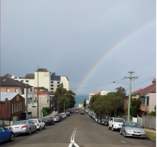 The rainbow as farewelled the hearse.