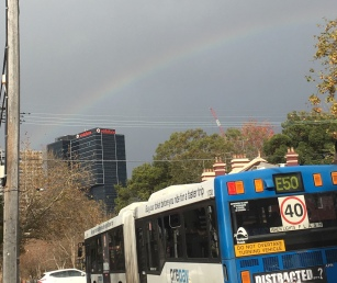 A rainbow when I stepped off the bus to attend day one.